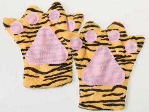 子供用 コスプレ パーティー イベント 一発芸など もふもふ アニマルハンド グローブ 手袋#トラ 送料込
