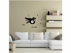 【Smart Design】ウォールステッカーx壁掛け時計/燕/ノリ跡が残らない/壁飾りシール#黒色 送料込