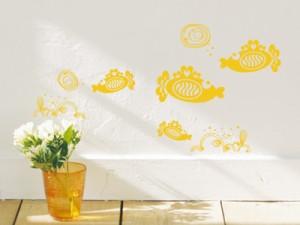 Smart Design ウォールステッカー 海の世界 黄色 ノリ跡が残らない 壁飾りシール 送料込