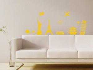Smart Design ウォールステッカー 世界旅行 黄色 ノリ跡が残らない 壁飾りシール 送料込