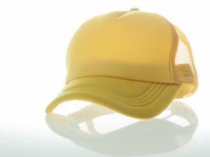 アールつば 無地 カジュアル 調節可能 通気性 網目 ベースボールキャップ/野球帽/帽子 #黄色 送料込