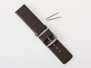 ファッション 男女兼用 腕時計 交換用 本革仕上げ 薄型 ベルト バンド #幅22mm/ブラウン 送料込