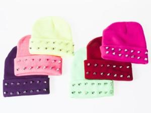 冬 ファッション ロックパンク風飾りカシメ・リベット付き 防寒 ニット帽 ニットキャップ 男女兼用#ネオンピンク