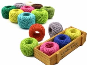 生活雑貨 ハンドメイド DIY 手芸 手編み用 リネン糸 50m/タグ糸 パッケージングなど/カラフル#グリーン