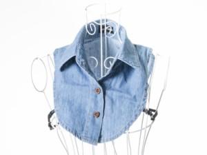 ファッション フェイクシャツ つけ襟 角襟 デニム風# XLサイズ/ブルー【新品/送料込み】