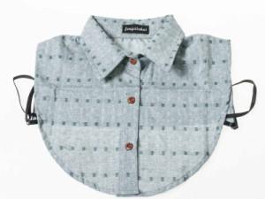ファッション フェイクシャツ つけ襟 角襟# チェッカー模様D/グリーン 送料込
