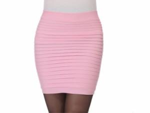 レディースファッション 伸縮性 タイトスカート 膝上 ショート 無地 ウエストゴム #ワインレッド 送料込
