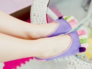 レディースファッション かわいい靴下 五本指 カバーソックス フットカバー/かかと滑り止め付き#パープル 送料込