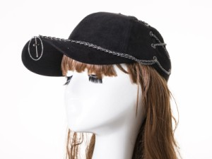 男女兼用 カジュアル 起毛布 調節可能 チェーン飾り ベースボールキャップ/野球帽/帽子#ブラック 送料込