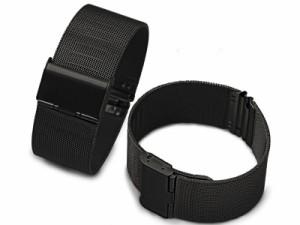 汎用 ステンレス製 メッシュ 腕時計 ベルト ブレスレット バンド 交換用 10mm #ブラック【新品/送料込み】