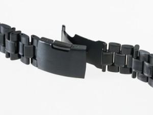 汎用 ステンレス製 腕時計 ベルト ブレスレット バンド Dバックル 交換用 18mm#ブラック