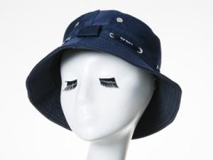 男女兼用 ファッション 無地 クラッシャーハット 帽子 日よけ 紐付き#ネイビー