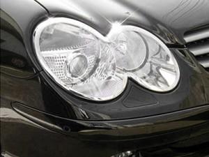 ベンツ R230 クローム メッキ フロントランプリム ヘッドライト トリム ベゼルカバー【新品/送料込み】