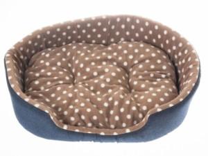 猫 小型犬 防寒用ふかふか ペットソファベッド デニム調/Mサイズ #水玉/ライトブラウン 送料込