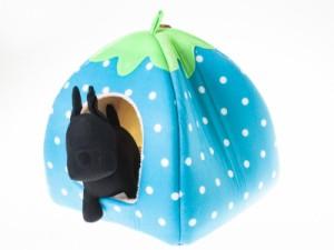 猫 小型犬防寒用 イチゴ形 ペットベッド ペット用ハウス/Lサイズ#スカイブルー 送料込