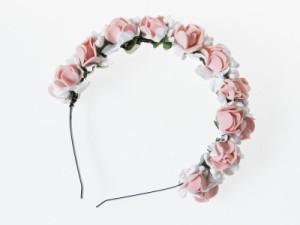 花嫁 花冠 花かんむり フラワー 造花アクセサリー カチューシャ ウェディング イベントなど#ピンク+ホワイト 送料込