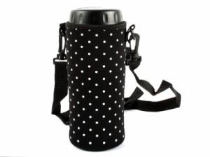 ドット風 マグボトル 水筒 ペットボトルカバーケース 斜め掛けタイプ#ブラック
