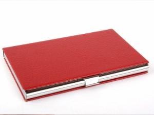 男女兼用 PUレザー製 名刺入れ ケース カード収納整理 ビジネス用 #ワインレッド【新品/送料込み】