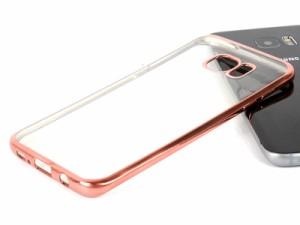 Samsung Galaxy S7 Edge SC-02H SCV33 用 メッキ調キラキラサイド 保護ケース #ローズゴールド【新品/送料込み】