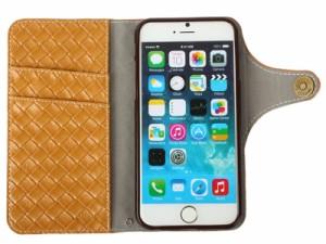 Apple iPhone 6 / 6s 用 網模様 カード入れ PUレザーカバー/ブックタイプ#イエロー 送料込