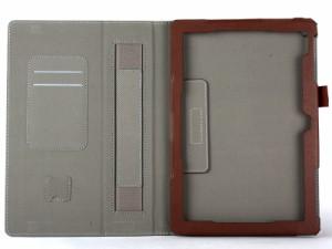Asus Zenpad 10 Z300C カード入れ 上質PUレザー 手持ち スタンドケース#ブラウン 送料込