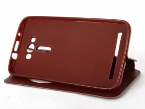 Asus ZenFone 2 Laser ZE550KL 5.5インチ 丸い便利窓付 合成革 スタンドケース カバー#ワインレッド【新品/送料込み】