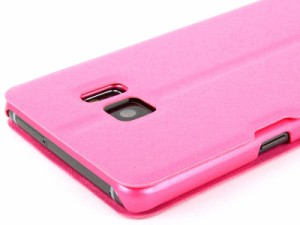 Samsung Galaxy Note 7 用 シルク調 便利窓×2付き スタンドケース #ローズ 送料込