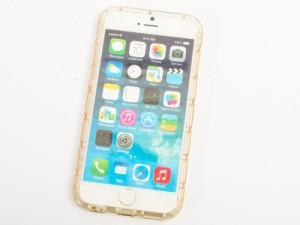 Apple iPhone 6 Plus/ 6s Plus 用 透明縞模様 シリコン製 ソフトケース 保護カバー#クリアイエロー【新品/送料込み】