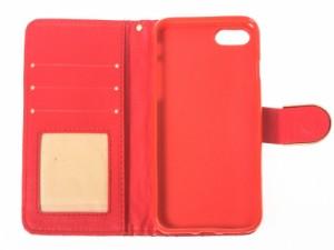 Apple iPhone 7 iPhone 8菱形柄 光沢感 PUレザー ラインストーン飾り カード収納 スタンドケース#レッド【新品/送料込み】