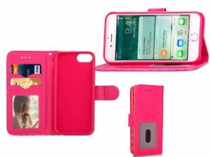 Apple iPhone 7 Plus iPhone 8Plus 用 高級感 ダイヤ柄 PUレザー製 カード収納 手帳型 スタンドケース#ローズ