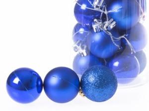 クリスマスにぴったり!パーティー イベント 飾り デコ オーナメント ボール/8cm×24個#ブルー 送料込