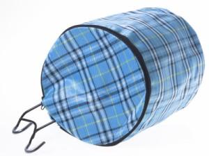 自転車 チャリ アクセサリー 前カゴ用 キャンバス製 防水 カバー兼エコバッグ/円筒形/蓋付き/チェック柄#スカイブルー 送料込