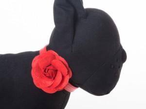 ペット用首輪 猫 小型犬 調整可能 合成革製 お洒落なバラの花飾り#XSサイズ/レッド【新品/送料込み】