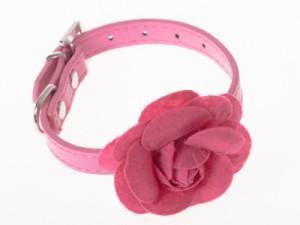 ペット用首輪 猫 小型犬 調整可能 合成革製 お洒落なバラの花飾り#Sサイズ/ローズ