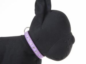 お洒落!ペット用首輪 猫 小型犬 調整可能 スエード調 キラキラ ラインストーン飾り付き#XXSサイズ/紫【新品/送料込み】