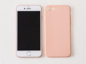 Apple iPhone 7用 防塵ジャック付き 全面カバー 軽量 シリコン製ソフトケース#ピンク【新品/送料込み】