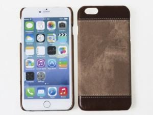 Apple iPhone 6/6S デニム風 TPU合成革 保護ケース 衝撃減少 カバー#ブラウン 送料込