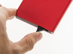 男女兼用 お洒落 アルミ合金製 名刺入れ ケース カード収納整理 飛び出す式 ビジネス用 #グレー 送料込