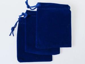 生活雑貨 起毛布製 アクセサリー 収納ポーチ 袋/12×15cm/3個セット/紐付き/指輪 ブレス ネックレスなど小物収納#ブルー 送料込