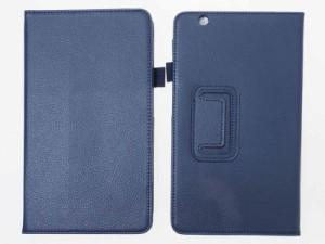 Huawei MediaPad M3 8.4インチ 専用 レイシPU風 合成革 スタンドケース ハードカバー/面ファスナー付き#ネイビー【新品/送料込み】