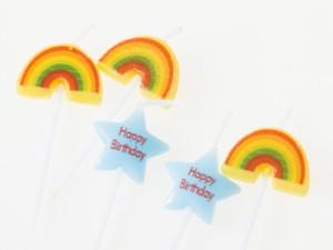 生活雑貨 誕生日 パーティー イベント バースデーケーキ用キャンドル かわいい蝋燭 #レインボー 送料込
