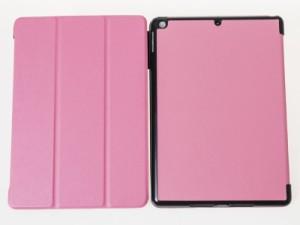 2017 Apple iPad 9.7用 シンプル PUレザー 三つ折り 手帳式 カバー スタンドケース スリープ機能#ピンク 送料込