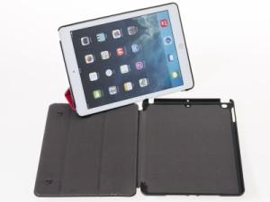 2017 Apple iPad 9.7用 お洒落 上品感 PUレザー 三つ折り 手帳式 カバー スタンドケース#レッド 送料込