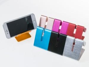 汎用 携帯・スマホ・タブレットなど アルミ合金製 スタンドホルダー/10インチ以内対応#ローズゴールド 送料込