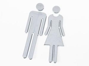 ABS製 トイレマーク トイレサイン シール 両面テープ貼付 男性+女性#シルバー