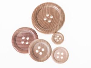 ファッション 4つ穴 ウッドボタン ボタン 3枚入り コート カバン 釦付け替え お裁縫 手芸など#25mm 送料込
