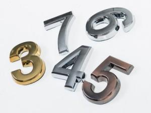 7cm 数字 ナンバー エンブレム ステッカー シール 真鍮色#0 送料込