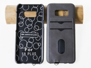 Samsung Galaxy S8 Plus SC-03J/SCV35用 カード収納 PUレザー風 ケース#ライトグレー 送料込