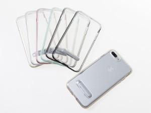 Apple iPhone 7 Plus iPhone 8Plus用 カラフルバンパー スタンド付 ハードケース#グレー 送料込