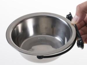 ペット 犬 猫 ペットフード用品 掛けるタイプ ステンレス製 給餌器 給水器 餌やり 水やり 食器#17cm【新品/送料込み】